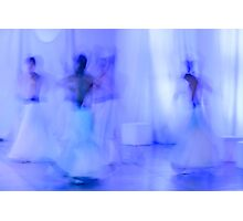 Whirling Dervishes in white and in a religious trance performing on a Turkish stage. Photographic Print