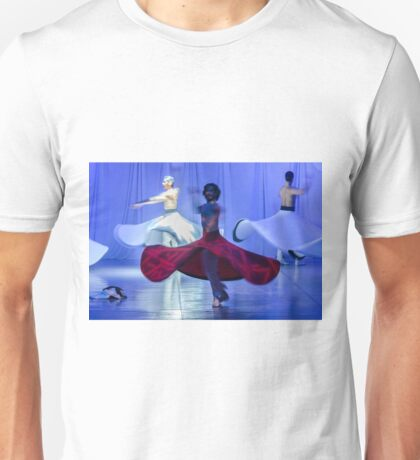 Whirling Dervishes in white and in a religious trance performing on a Turkish stage. Unisex T-Shirt