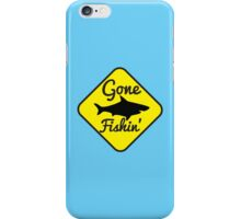 Gone Fishing yellow sign with a shark iPhone Case/Skin