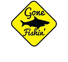 Gone Fishing yellow sign with a shark Photographic Print