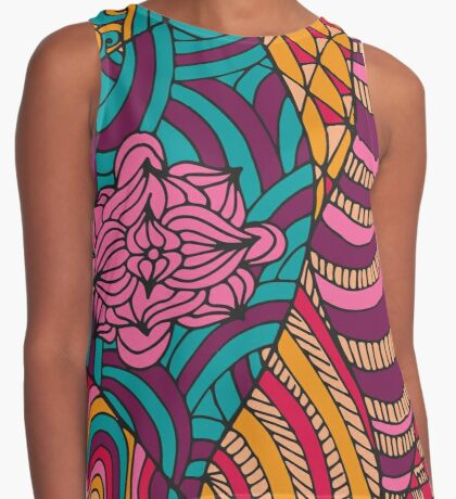 60s hippie psychedelic pattern Contrast Tank