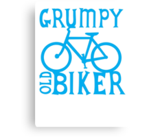 Grumpy old Biker with cycle riding bike bicycle Canvas Print