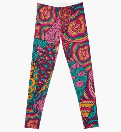 60s hippie abstract print Leggings