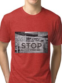 Photograph of The Cube Birmingham with Brummie saying over the top Tri-blend T-Shirt