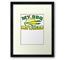 MY BBQ (barbecue) MY RULES Aussie Australian flag and tongs Framed Print