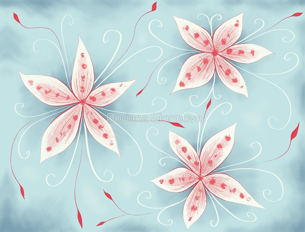 Abstract digital painting of beautiful whimsical flowers in red, white and blue