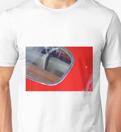 Vintage red car detail of interior seen from the back window Unisex T-Shirt