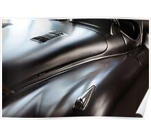 Shining matte car paint. Detail of classic black elegant car. Poster