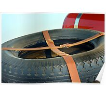 Spare car wheel with leather belt  Poster