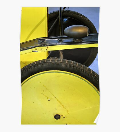 Detail of vintage yellow car wheels  Poster