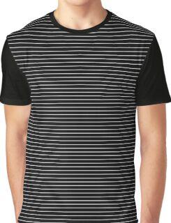 Black and White Thick Horizontal Pin Stripe | Stripes Pattern Print Graphic T-Shirt