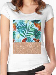Aqua tropical breeze and rose gold glitter Women's Fitted Scoop T-Shirt