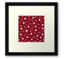 Cartoon Skulls with Hearts on Red Background Seamless Pattern Framed Print