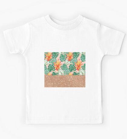Peach tropical rose gold Kids Tee