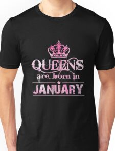 Queens January T-Shirt. Queens Are Born In January For Women Unisex T-Shirt