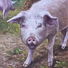 Pink Pig Portrait by martyee