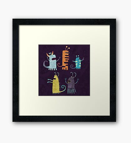 Secretly Vegetarian Monsters Framed Print