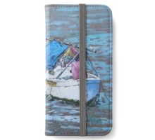 Two boat wrecks at low tide iPhone Wallet/Case/Skin