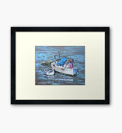 Two boat wrecks at low tide Framed Print