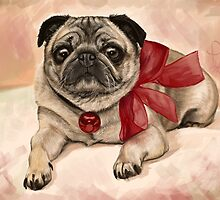 Christmas pug with a red bow  by Thubakabra