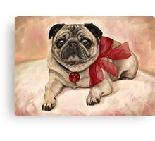 Christmas pug with a red bow  Canvas Print