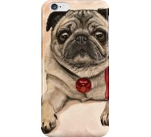 Christmas pug with a red bow  iPhone Case/Skin