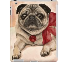 Christmas pug with a red bow  iPad Case/Skin