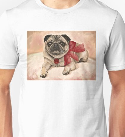 Christmas pug with a red bow  Unisex T-Shirt