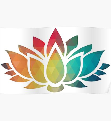 Rainbow color patterns lotus flower  Poster