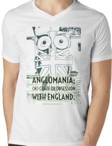 Anglomania definition on and edited photograph of Birminghams Owls with a Union flag on Mens V-Neck T-Shirt