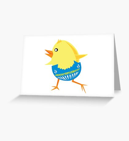 Running baby chick egg Greeting Card
