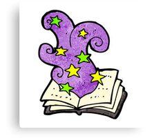 cartoon magic spell book Canvas Print
