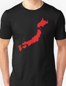 Japan map simple in RED Unisex T-Shirt