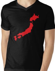 Japan map simple in RED Mens V-Neck T-Shirt