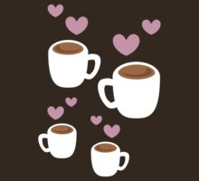 Coffee cups group with love hearts cute! by jazzydevil