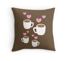 Coffee cups group with love hearts cute! Throw Pillow