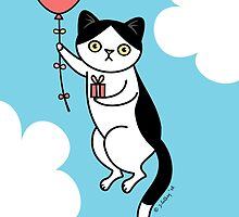 Birthday Cat - black and white by zoel