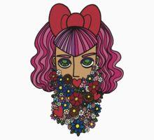Flower bearded girl with bow by foureyedart