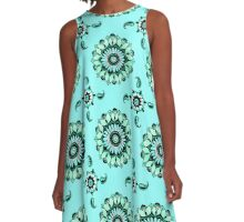 Mandala Flower Oasis Aqua Kisses A-Line Dress