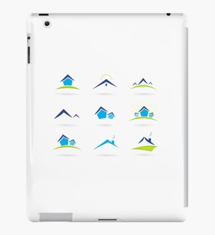Hand-drawn cute Icons on white iPad Case/Skin