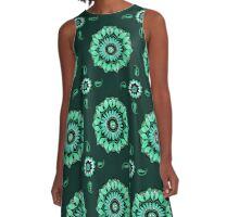 Mandala Flower Oasis Aqua Kisses Dark A-Line Dress