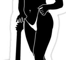 Bikini Girl with Guitar Silhouette Sticker