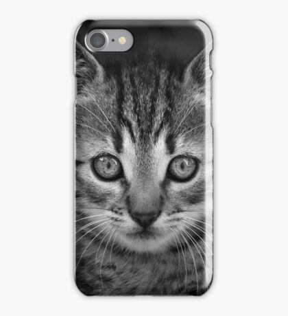 Cute black and wihte cat face iPhone Case/Skin