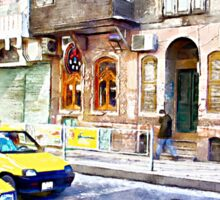 Taxi through the streets of Aleppo Sticker