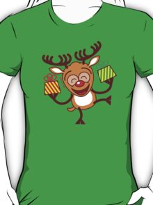 Christmas Reindeer bringing gifts T-Shirt