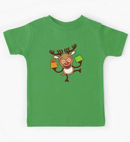 Christmas Reindeer bringing gifts Kids Tee