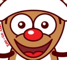 Cool Xmas Reindeer Wearing Santa Hat Sticker