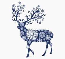 Blue Christmas deer One Piece - Short Sleeve