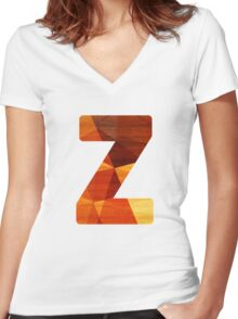 Letter Z - Wood Initial Women's Fitted V-Neck T-Shirt