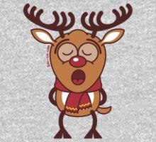 Sweet Christmas reindeer singing  One Piece - Long Sleeve